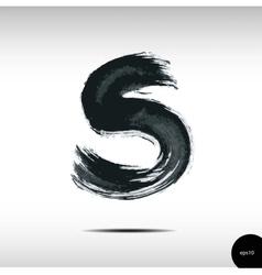 Calligraphic watercolor letter s vector