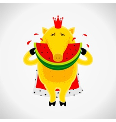 Royal pig with watermelon vector