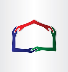 Human hands house friendship vector