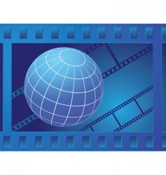 Globe in film frame vector