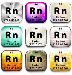 A periodic table showing radon vector
