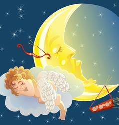 Sleeping cupid vector