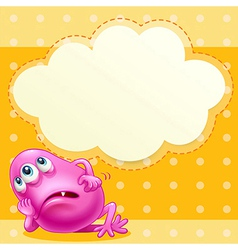 A fat pink monster with an empty cloud template at vector