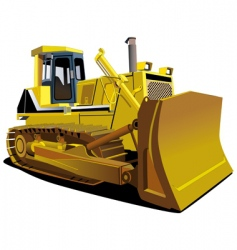 Yellow dozer vector