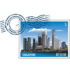 Postmark from singapore vector