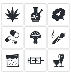 Drugs icon set vector