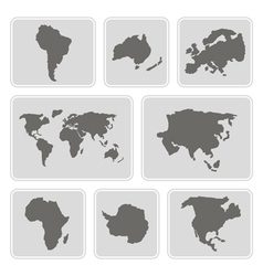 Monochrome icons with continents vector