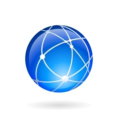 Global technology or social network emblem vector