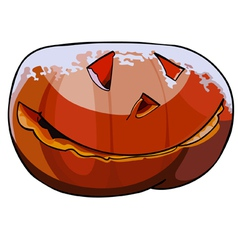 Halloween pumpkin covered with snow vector