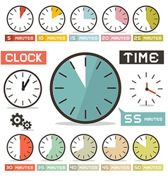 Clock set in flat design style vector