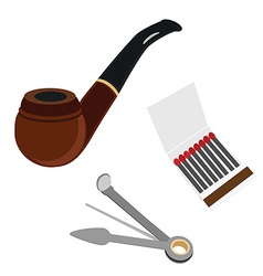 Smoking pipe cleaning tool and matchsticks vector