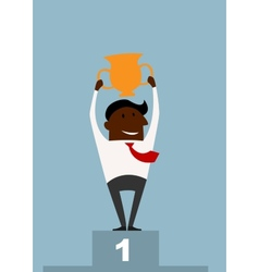Winner black businessman raising a trophy vector