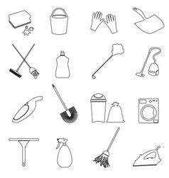 Simple cleaning tools outline icons set eps10 vector