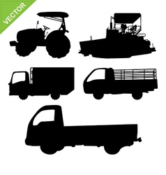 Truck and tractor silhouettes vector