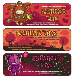 Cute sunset banners vector
