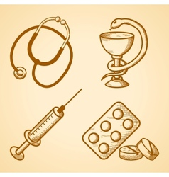 Icons set of medical items vector