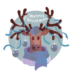 Reindeer in scarf vector