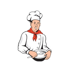 Chef cook baker mixing bowl cartoon vector