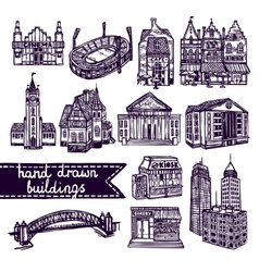 Sketch city building set vector