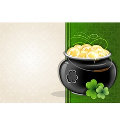 Pot with gold coins on vintage background vector