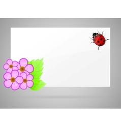 Flowers and ladybird vector