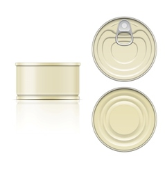 Tin can with ring pull side top and bottom view vector
