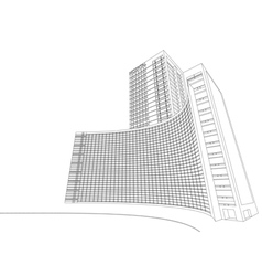 Wireframe hospital building vector