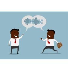 Cartoon businessmen satisfied with cooperation vector