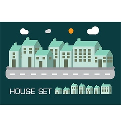 House set green tone concept vector