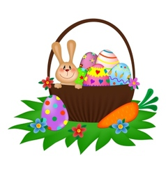 Easter bunny with a painted eggs in the basket vector
