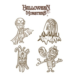 Halloween monsters spooky characters set eps10 vector