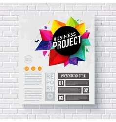 Corporate identity web template on a brick wall vector
