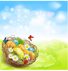 Background with easter nest and eggs on spring bac vector