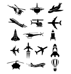 Air travel icons set vector