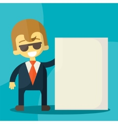 Businessman holding blank notes characters poses vector