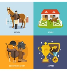 Jockey flat set vector