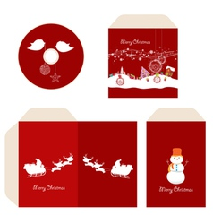 Brand identity merry christmas disc with packaging vector