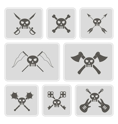 Monochrome icons with skulls vector