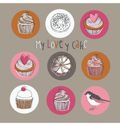 Lovely cakes vector