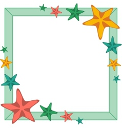 Decorative frame with cartoon starfishes vector