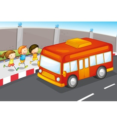 Kids and bus vector