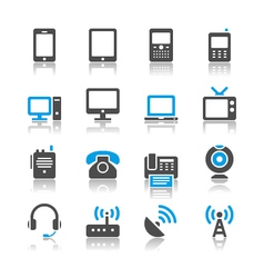 Communication device icons reflection vector