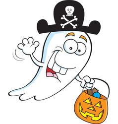 Cartoon trick or treat ghost vector