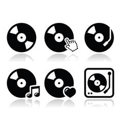 Vinyl record dj icons set vector