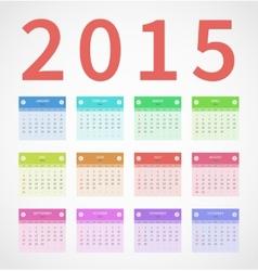 Calendar annual 2015 in flat design vector