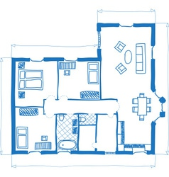 Floor plan of house doodle style vector