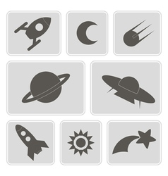 Icons with symbols of interplanetary missions vector