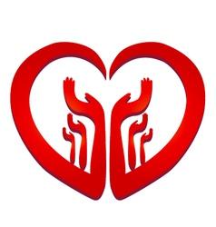 Hands in a heart logo vector