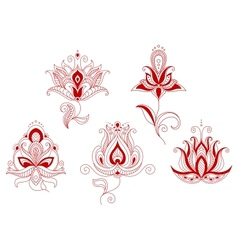 Set of abstract flowers in persian and indian vector
