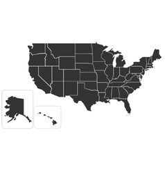 Blank simlified map of usa vector
